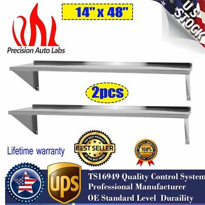 """2pcs 14"""" x 48"""" Shelf Commercial Kitchen Stainless Steel Wall Shelving NEW GD"""