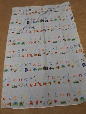 New Pottery Barn Kids Alphabet/animals Light Blue Crib  Duvet Cover