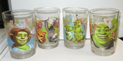 Set of 4 Shrek the Third McDonalds Drinking Glasses Un-Used & Original Coupons