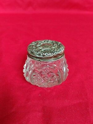 Antique Cut Glass Ointment Jar Hallmarked Sterling Silver Lid Chester 1916 Jdwd