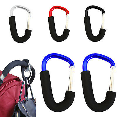 2 x LARGE BUGGY CLIPS COLOURED PRAM PUSHCHAIR SHOPPING BAG HOOK MUMMY CARRY CLIP