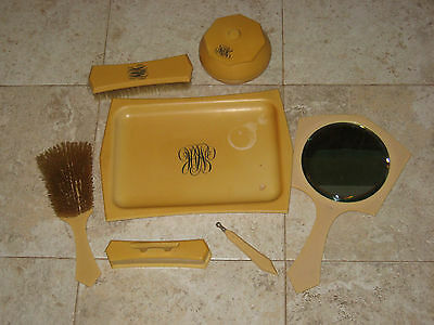 7 Pc Tuskeloid Signed Bakelite Celluloid Vanity 2 Brushs Mirror Tray Nail Kit