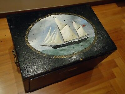 1910ca WW1 ANTIQUE CHEST OF DRAWER ROYAL NAVY NAVAL SHIP HANDPAINTED DOVETAILED