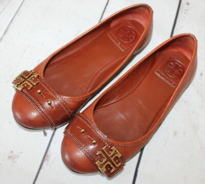 509567c3e1c314 TORY BURCH 🌷 Brown Pebbled Leather Gold Reva Buckle ELINA 🌷 Ballet Flats  6 M