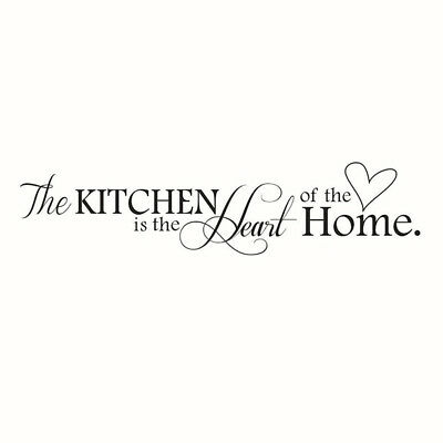 """Novelty """"The Kitchen Is The Heart Of The Home"""" Removable Wall Quote Sticker FK"""