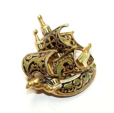 Vintage Toledo Spanish Galleon Gold Coloured Black White Green Brooch (c1940s)