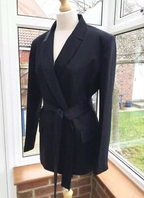 Zara Navy Blue Belted Frock Coat Jacket Coat Size L UK 14 BNWT