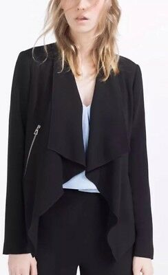 Zara Black Zipped Blazer Smart Jacket Size L UK 14 BNWT