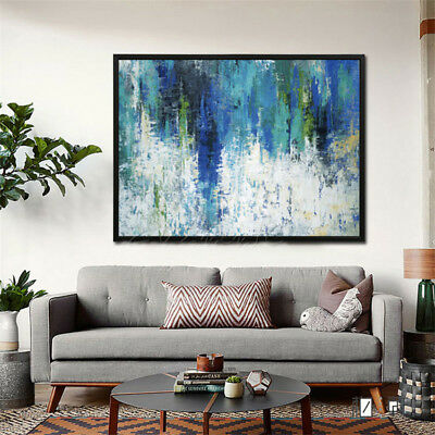 Hand Painted Abstract  Modern Oil Painting on Canvas Wall Art Blue 980