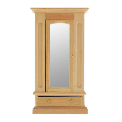 Dollhouse Miniature Bedroom Furniture Natural Wood Mirror Door Wardrobe 12th