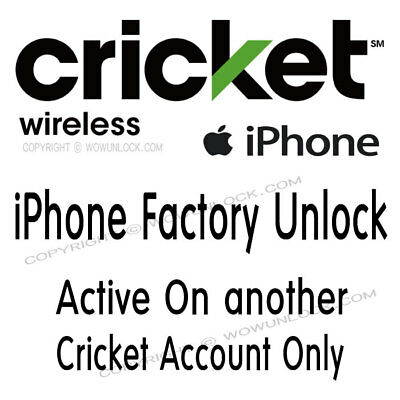 CRICKET iPhone X 8 7 7+ 6s+ 6 Xr Xs Max ACTIVE ON ANOTHER ACCOUNT UNLOCK SERVICE