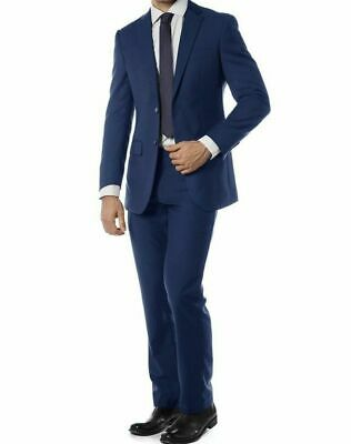 Men's Blue Slim Fit Suit Single Breasted 2 Buttons Notched Lapel Brand NEW