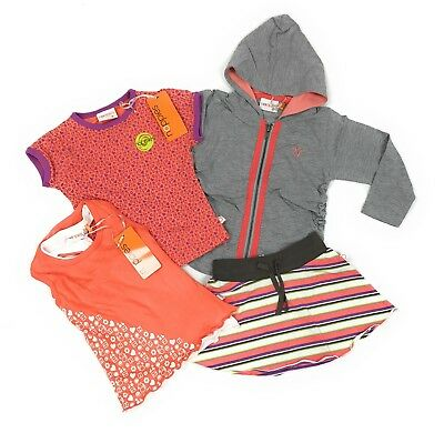 Little Girls 4-pc Coral Mix & Match Outfit Sweatshirt Shirt Tank Top Skirt