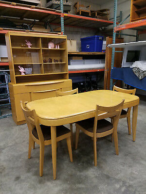 Mid Century Heywood Wakefield Dining Set Table 4 Chairs Credenza China Cabinet