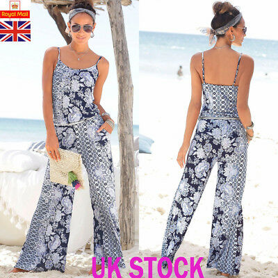 UK Womens Strappy Floral Jumpsuit Ladies Boho Beach Long Playsuit Dress Trousers