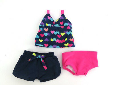 Doll Clothes Heart Swim Bathing Suit 3 Piece Set For 18 Inch American Girl