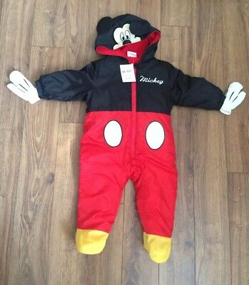 BNWT Age 6 - 9 Months Disney Mickey Mouse Fully Lined & Padded Snowsuit