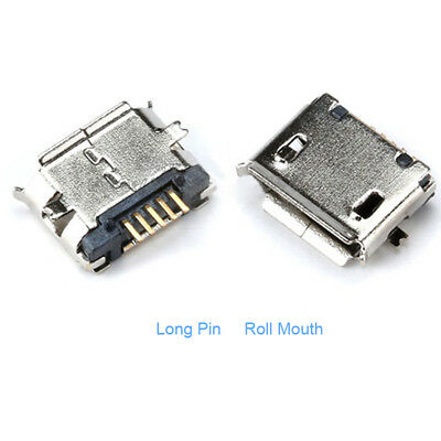 Micro USB Type B Female 5 pin SMT SMD Socket Connector , Long Pin Roll Mouth