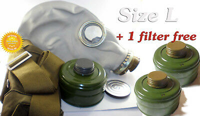 Size-3 + 3 filters. Large Soviet Russian Military Gas mask GP-5 Grey rubber
