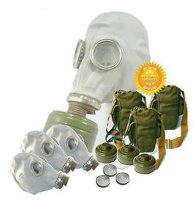 3 sets of Size - 2. Soviet Russian Military Gas mask GP-5. Gray rubber Full set