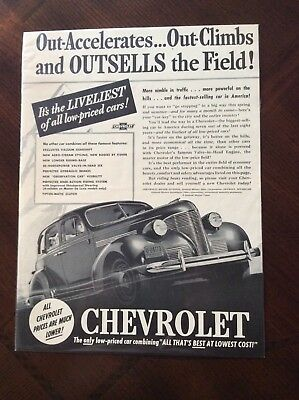 vintage 1939 original magazine ad Chevrolet outsells the field nice