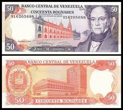 VENEZUELA 50 BOLIVARES 1992. PICK 65d. SC- // aUNC (About Uncirculated).