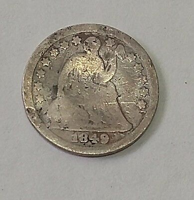 1849 Seated Liberty Half Dime - Circulated with clear date