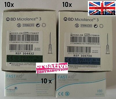 BD Hypodermic needles 10 blue 23G + 10 green 21G + swabs injection kit CE Mark