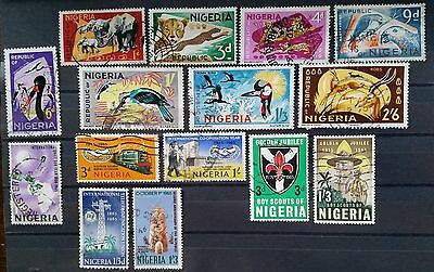 NIGERIA - 1965 - Stamps Selection - Nr. 15 Used Stamps - Fauna Lot of 8 Used
