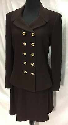 ST. JOHN Collection by Marie Gray Women's Brown 2-pc Jacket Skirt Size 6, USA
