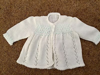Pretty White And Mint Hand Knitted Cardigan! 0-3 Months New