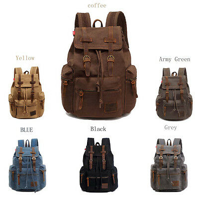 Men/'s Vintage Canvas Backpack Outdoor Travel Hiking Rucksack Shoulder Laptop Bag