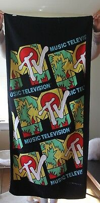 Vintage MTV Beach Towel 1988 Spring Break Excellent Condition Music Television