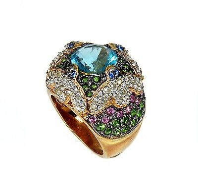 Vtg Marvelous Cocktail Ring. Topaz Glass, Pave Rhinestones