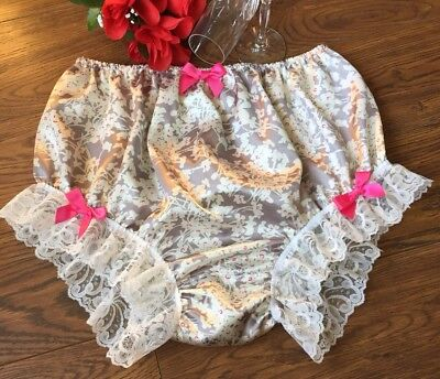 """Ivory & Silver Flower Printed Satin Panties/Feminine Knickers- Lace&Bows 32""""/44"""""""