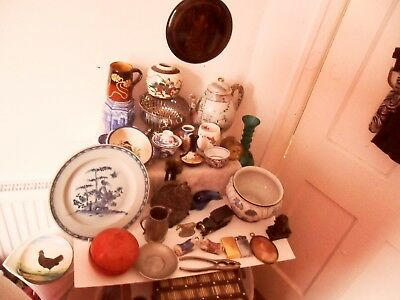 Job Lot Of Antique And Vintage Collectables. Oriental Silver Plate Ceramics