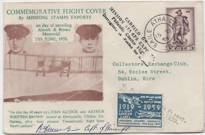 IRELAND: 1959 Mission Stamps Signed Commemorative Flight Cover to Dublin (17599)