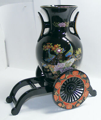 Black Vase With Painted Flowers Gold Trim And Accents Made In