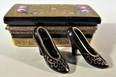 Limoges Trinket Black Gold Shoe Box with Shoes Peint Main Signed France