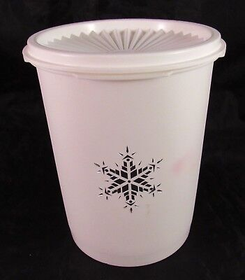 Vintage Tupperware Canister/Servalier White Silver Star 811-14 With Lid