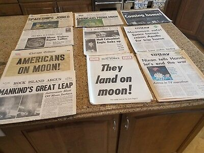 10 Vintage Moon Landing Newspapers from Illinois