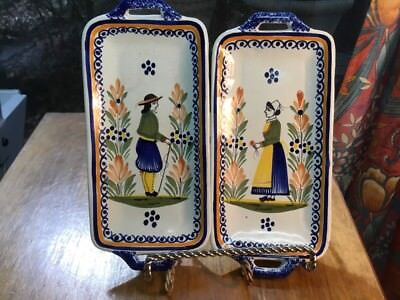 """Antique Classic Quimper Matched Pair of Handled Trays As a """"Wedding Gift"""""""