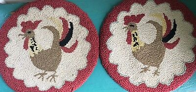 """Antique 15"""" American Folk Art Crowing Rooster Primitive Hooked Rug Chair Pads"""