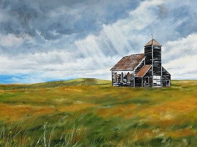 Original Hand Painted Fine Art Landscape Oil Painting Prairie Church Signed