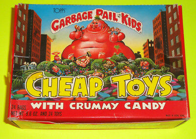 1986 Topps Garbage Pail Kids Cheap Toys Toy & Crummy Candy Display Box Full 24pk