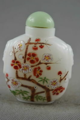 Collectable Handwork Decor Agate Paint Charming Plum Blossom Lucky Snuff Bottle