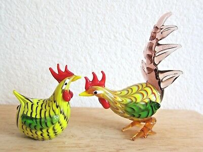 Lenox Art Glass Roosters Chickens Miniature Hand Blown Multi Color 2 Figurines