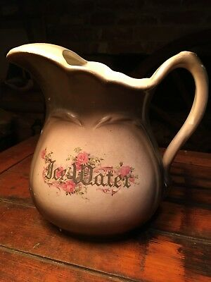 Vintage Sebring Pottery (S.P. Company) Brown w/ Pink Roses Ice Water Pitcher