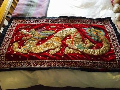 Traditional Authentic Antique Maynamar Embroieded Asian Wall Hang / Kalaga