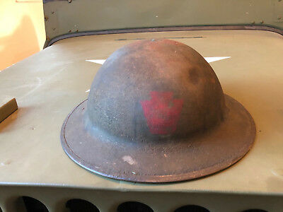 WW1 US Doughboy Helmet with decal Original Pennsylvania Infantry 28th Division.